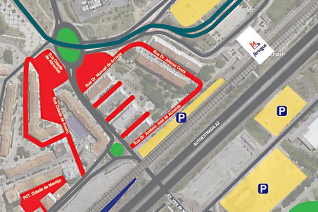 mapa estacionamento em corroios